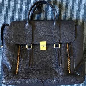 3.1 Phillip Lim Navy Pashli Leather Satchel- Large